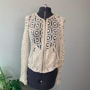 Chelsea28 Faux Leather Trim Crochet Jacket XS